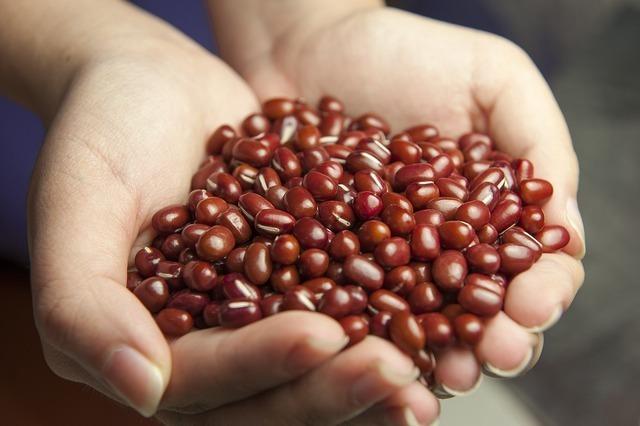 小豆を持つ手