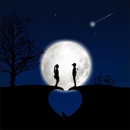 満月と男女