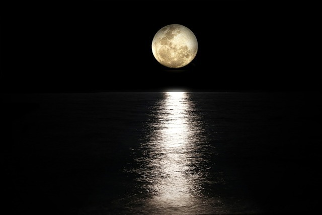 夜の海と満月