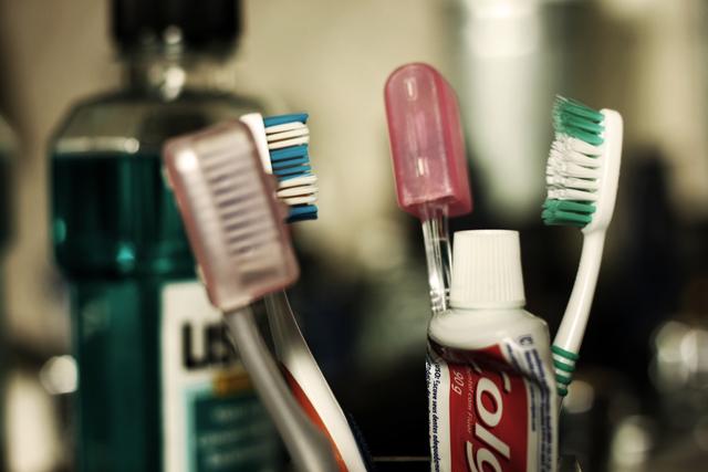 まとめられた歯ブラシ