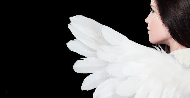 左を見る天使画像