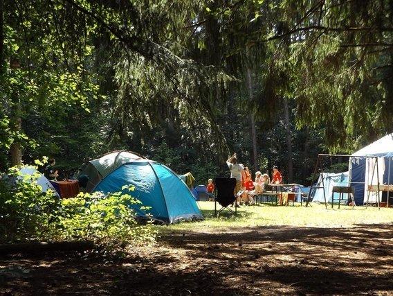 森の中に建てられたテント
