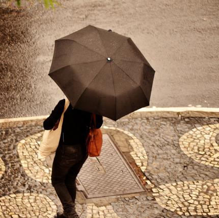 黒い傘をさす人