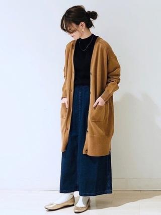 タックAラインデニムスカート