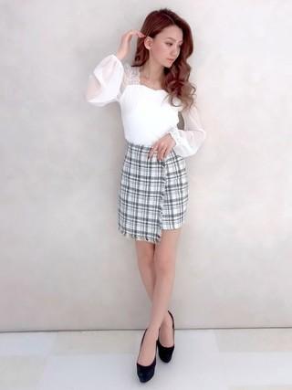 ツイードラップスカートで春コーデ