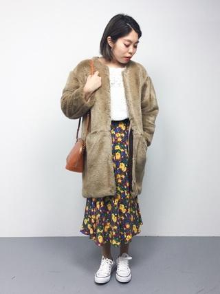 ファーコート×フレアスカート