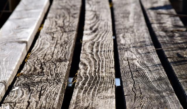 古い反っている木材
