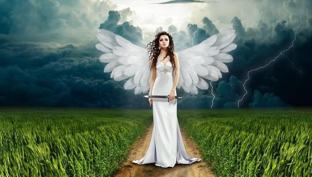 美しい天使が道に立つ画像