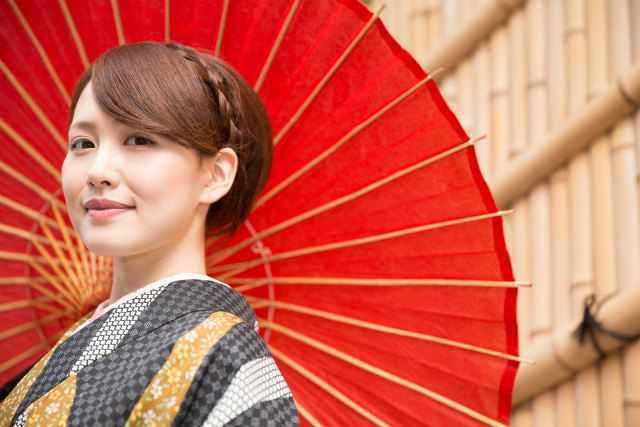 着物を着て傘をさす女性