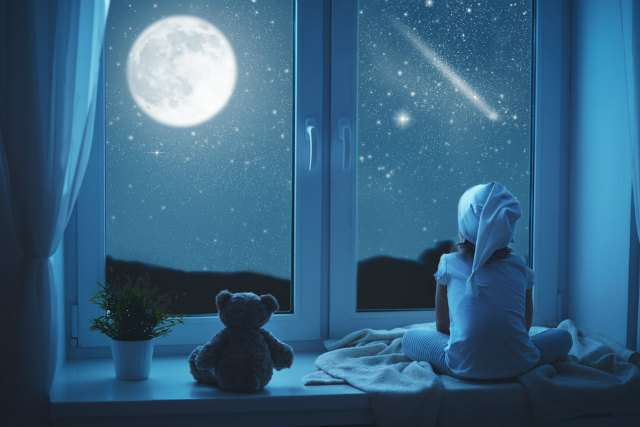 月を眺める少年