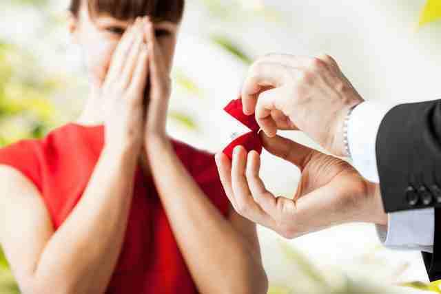 プロポーズで指輪を見せる男性