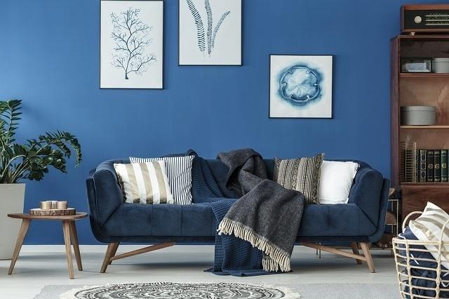 紺色のソファ