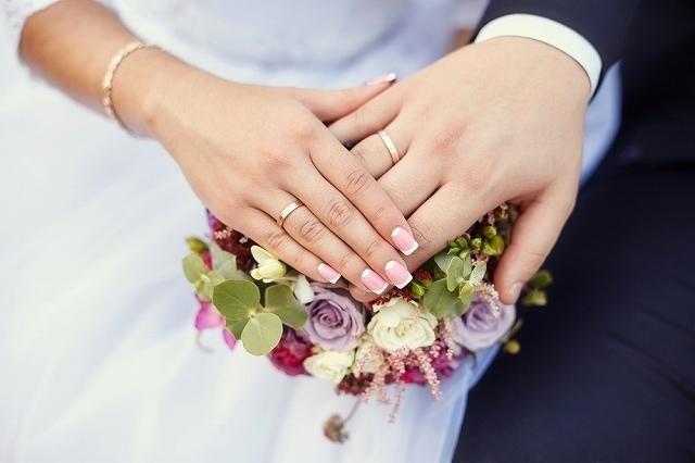 指輪をした男女の手