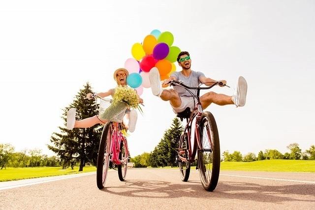 バルーンつきの楽しい自転車