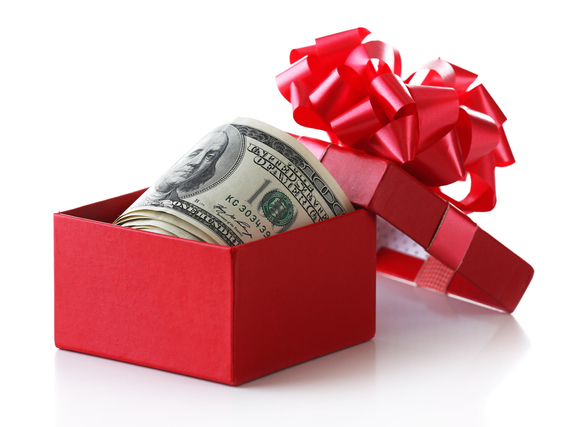 プレゼント箱の中の紙幣