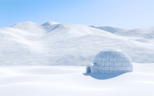 雪景色の中にかまくら