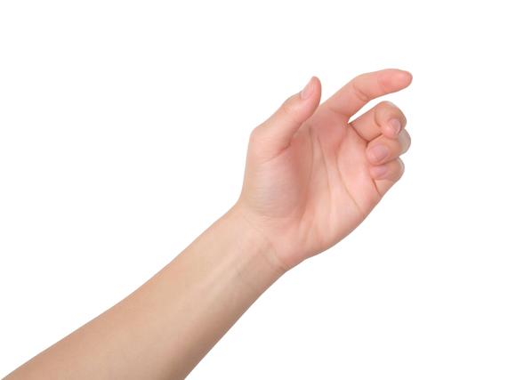 指を曲げた手